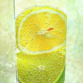 Effervescent Freshness by Kaye Menner - Food & Drink Alcohol & Drinks ( colorful, citrus fruit, still life, kaye menner fruit, kaye menner photography, yellow, fruit art, bokeh, spring, kaye menner, photography, carbonated, refreshing, fresh, lemonade, drink, air bubbles, glass, effervescent, visions of spring, water, fruit, green, lemon soda, lemon squash, bubbles, texture overlay, lime, kitchen, lens flare, effervescent freshness, beverage, citrus, yellow green, kitchen art, food, healthy, summer, freshness, spring bokeh, citrus fresh, lemon,  )
