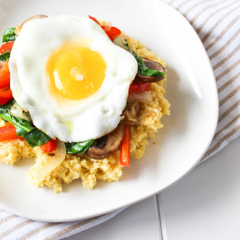 Cheesy Millet with Sautéed Vegetables and Fried Egg