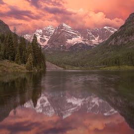 Maroon Bells Sunrise by Andy Taber - Landscapes Mountains & Hills