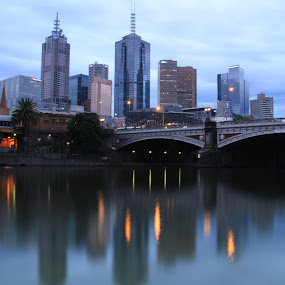 Melbourne CBD by Tony Burnard - Buildings & Architecture Bridges & Suspended Structures ( city at night, street at night, park at night, nightlife, night life, nighttime in the city )