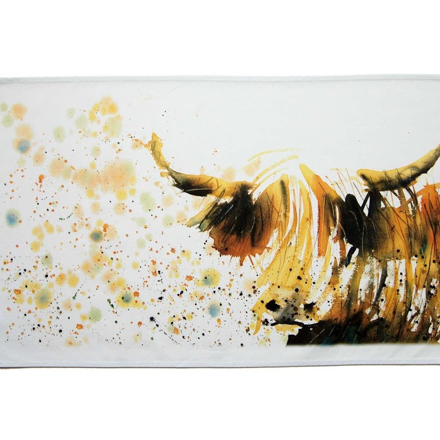 Highland cow tea towel british rustic shabby chic
