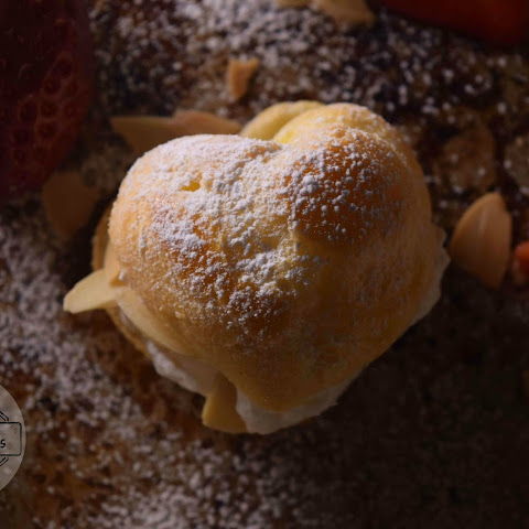 Heart Shaped Almond Strawberry Cream Puff