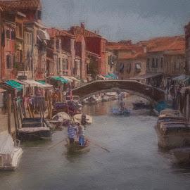 Murano by Ole Steffensen - Digital Art Places ( venezia, boats, venice, murano, canal, italy, topaz impressions )
