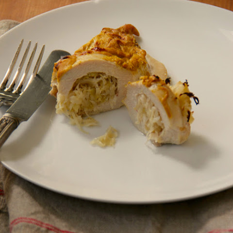 Sauerkraut Stuffed Mustard Chicken Breasts