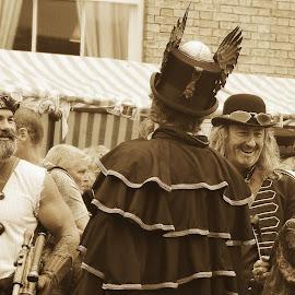 steampunk by Kathleen Devai - People Street & Candids ( sepia, street, lincolnasylum, people, steampunk )