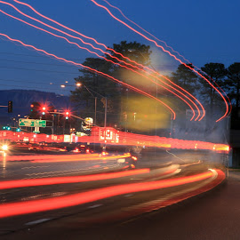 big rig by Debbie Theobald - Abstract Light Painting ( tail lights, lights, light painting, unedited, long exposure,  )