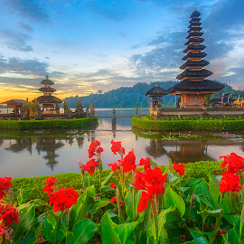 Ulun Danu temple by Rio Tanusudiro - Landscapes Travel ( water, temple, hindu, lake, sunrise, morning, flowers, pura )