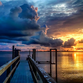 Silver Linings by Etta Cox - Instagram & Mobile iPhone ( sunrise sunlight reflection golden water pier sky clouds )