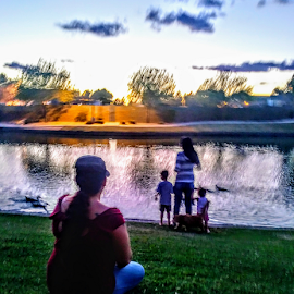 @Peace by Carlo McCoy - Digital Art People ( children, cat, real images, evening, water, friends, peaceful, kids,  )