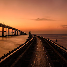 Pamban Bridge, Rameshwaram by Kartik Siva - Buildings & Architecture Bridges & Suspended Structures ( sunset, twilight, art, sea, bridge, architecture, travel )