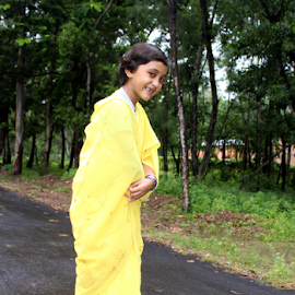 smile in yellow by Apurba kumar Pal - City,  Street & Park  Neighborhoods ( fashion, girl_child, small_hair, sharee, one_girl, yellow, black_hair, young, child, girl, dress, happy, lady, smile, hair,  )
