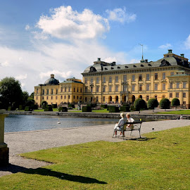Drottningholm Palace by Francis Xavier Camilleri - City,  Street & Park  Historic Districts ( sweden, stockholm, park bench, architecture, palace )