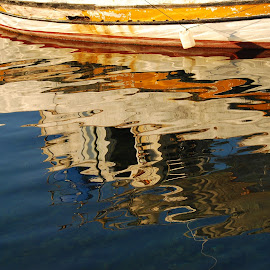 Boat reflection by Pixie Simona - Abstract Light Painting ( reflection, harbor, harbour, boat reflection, sea, reflections, seascape, boat,  )