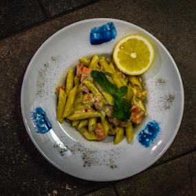 Pasta with somon by Marius Radu - Food & Drink Eating ( seafood, pasta, restaurant, somon, food )