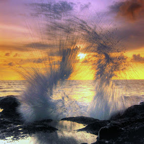 DANCE OF WATER by Tut Bolank - Landscapes Waterscapes ( bali, kuta, badung, sunset, melasti beach, sunrise, high tide )