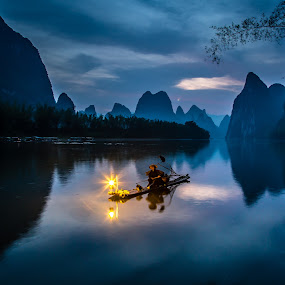 Cormorant Fisherman at Dawn by David Long - Landscapes Waterscapes ( li river, cormorant fisherman, guilin,  )