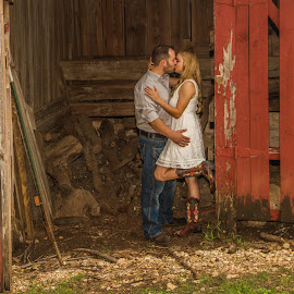 Kiss At The Old Red Barn by Matthew Chambers - People Couples ( austin, kissing, texas, beautiful, matthew chambers photography, beauty, austin photographer, country, love, americana, kiss, sexy, red, boots, kisses, engagement )