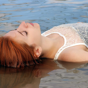 by Sandra Jakovljevic - Digital Art People ( water, orange, girl, summer, hair, river )