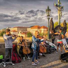 Charles Bridge, Prague by Graeme Hunter - City,  Street & Park  Street Scenes