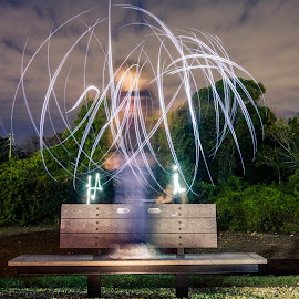 Teleportation by Alex Robinett - Abstract Light Painting ( 18-35, light painting, flashlight, bench, sigma, night, canon t2i, fullsail,  )