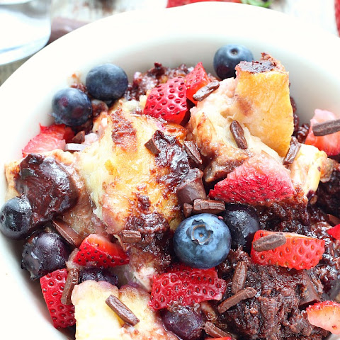 Berries Chocolate Cream Cheese French Toast Casserole
