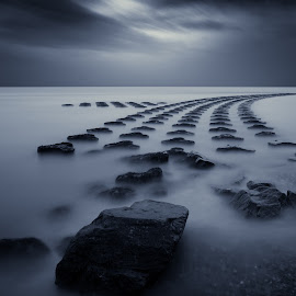 Vapour by Simon Talbot-Hurn - Landscapes Beaches ( water, uk, waterscape, art, fine art, beach, landscape, sea defences, big stopper, order, split toning, dark, landscape photography, moody, suffolk, long exposure, nikon, split toned )