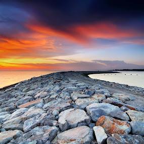 sunset, seascape, dusk, seaside, by Fairuzee Ramlee - Landscapes Sunsets & Sunrises