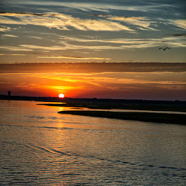 Going Down by Ann J. Sagel - Landscapes Sunsets & Sunrises ( water, strathmere, sunset, ann sagel )