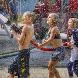 Fireman's house water fights by Kim Price - Babies & Children Children Candids ( water fun, summer, kids )