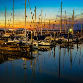 Boats at sunset by Gordon Koh - Transportation Boats ( boats )