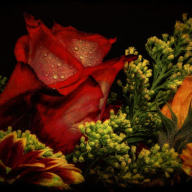 Old West Flowers Portrait by Dave Walters - Artistic Objects Still Life ( nature, lumix fz2500, colors, flower, digital art )
