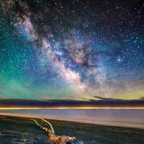 The Circle of Life by Trevor Pottelberg - Landscapes Starscapes ( shore, water, clouds, milkyway, t.pottelberg scenics, waterscape, gallaxy, ontario scenic photographer, ontario, scenic, landscape, spring, astronomy, nightscape, great lake, night photography, t.pottelberg, trevor pottelberg, ontario landscape photographer, stars, photographer, shoreline, night, lake erie,  )