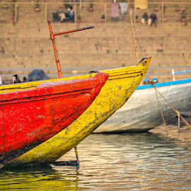 Boats on the Ganges by Giancarlo Bisone - Transportation Boats ( boats, ganges, varanasi, india, river )