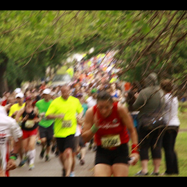 OKC Memorial Runners by Jennifer  Loper  - City,  Street & Park  Street Scenes ( memorial, oklahoma city, runners, robinson, marathon )