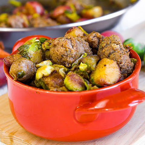 STIR-FRIED SAUSAGES with red potatoes and Brussels sprouts