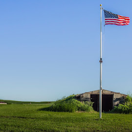 Fort Sauerkraut by Julie Wooden - City,  Street & Park  Historic Districts ( rolling hills, north dakota, nature, hebron, american flag, outdoors, fort sauerkraut, landscape, spring )