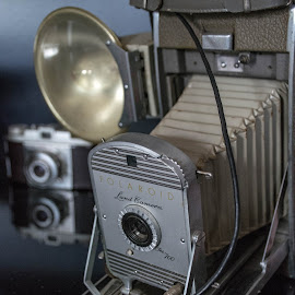 Cameras by Thomas Shaw - Artistic Objects Antiques ( flash, reflection, old, silver, camera, gray, lens, photography, blue, polaroid, brown, antique, black, antiques, cameras )