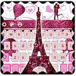 Eiffel Tower Pink Glitter Paris Keyboard Theme. Icon