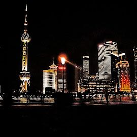 Shanghai at night by Alka Smile - City,  Street & Park  Night