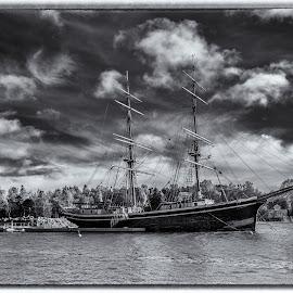 North Wind Tango by Bojan Bilas - Black & White Landscapes ( black and white, ship, fine art photography, fine art, finland )