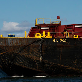 Towing the Barge by Alan Cline - Transportation Boats ( harbor, tugboat, barge, chain, ship )