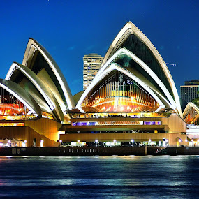 The Opera House by Ajay Sharma - Buildings & Architecture Public & Historical ( lights, ocean, night, opera, house, sydney )
