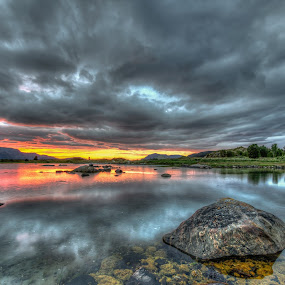 Water reflections by Benny Høynes - Landscapes Waterscapes ( clouds, hdr, sunset, pond, norway )
