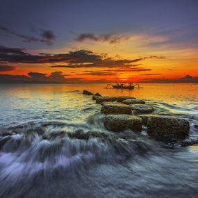 Set Sail by Choky Ochtavian Watulingas - Landscapes Sunsets & Sunrises ( clouds, sky, sailing, waves, beach, seascape, sunrise, boat )