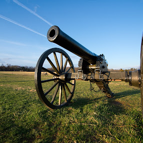 Live Fire by Glen Fortner - City,  Street & Park  Historic Districts ( battlefield, civil war, manassas, virginia, cannon )
