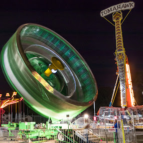 You spin me right round baby right round... by Todd Wallarab - City,  Street & Park  Amusement Parks ( carnival, green, carnival ride, spin, tomahowk, dizzy )