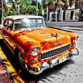 Florida Car by Ana Paula Filipe - Transportation Automobiles ( car, orange, old, florida, street )