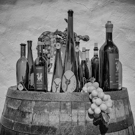 Wine and Grapes by Steve Moore - Food & Drink Alcohol & Drinks ( wine, monochrome, grapes, still life, bottles, barrel )