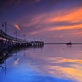 The Bridge by Adhy L Occhio d'Aquila - Buildings & Architecture Bridges & Suspended Structures ( clouds, reflection, blue hour, jakarta, sunrise, seascape, bridge, nikon, boat, golden hour )