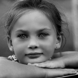 Watching the Sunset BW by Cheryl Korotky - Black & White Portraits & People